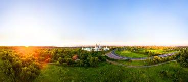 istrajerusalem kloster nya russia Panorama- flyg- sikt av den berömda gränsmärket nära Moskva Royaltyfri Foto
