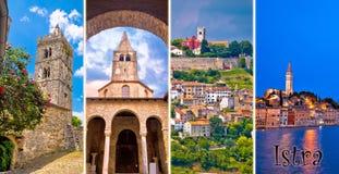 Istria peninsula tourist destination multiple photos collage pos. Tcard with label, Croatia Stock Images