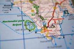 Istrian peninsula on map. Close up shot of Pula Croatia on the Istrian Peninsula on a map royalty free stock photo