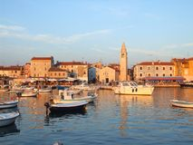 Istrian town. Of Fazana at sunset Royalty Free Stock Images