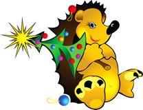 Istrice con un albero di Natale royalty illustrazione gratis