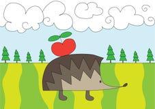 Istrice piacevole con la mela rossa sul glade Immagine Stock Libera da Diritti