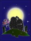 Istrici nella notte della luna Fotografie Stock