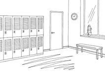 Istruisca il vettore interno bianco nero grafico dell'illustrazione di schizzo dell'ingresso del corridoio illustrazione vettoriale