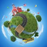 Istruisca la casa e lo scuolabus dentro di nuovo all'illustrazione di concetto della scuola Fotografie Stock Libere da Diritti