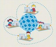 Istruisca la comunicazione sociale della rete illustrazione di stock