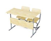 Istruisca lo scrittorio e due sedie su fondo bianco 3d si strappano illustrazione di stock