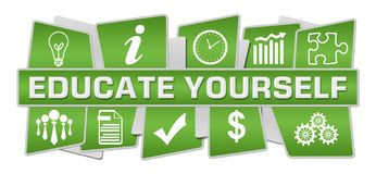Istruisca voi stessi che i simboli verdi completano inferiore illustrazione vettoriale