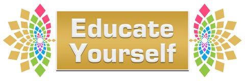 Istruisca voi stessi insegna da sinistra a destra floreale illustrazione di stock