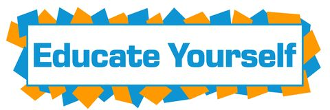 Istruisca voi stessi orizzontale casuale arancio blu di forme illustrazione di stock