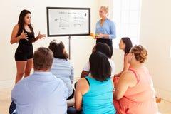 Istruttore Addressing Overweight People di forma fisica al club di dieta fotografie stock libere da diritti