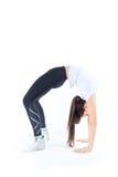 Istruttore adorabile di forma fisica sopra bianco Fotografia Stock Libera da Diritti