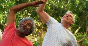 Istruttore che assiste la gente senior nell'esercitazione del 4k stock footage