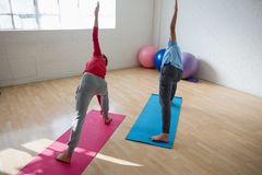 Istruttore con la posa di pratica del triangel della studentessa nello studio di yoga Fotografia Stock