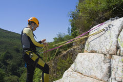 Istruttore di canyoning Immagini Stock