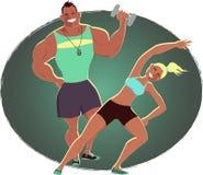 Istruttore di forma fisica ed educatore personale illustrazione di stock