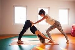 Istruttore di yoga che assiste studente in exercis Fotografia Stock Libera da Diritti