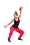 Istruttore femminile Exercise di forma fisica con Kettlebell Fotografia Stock