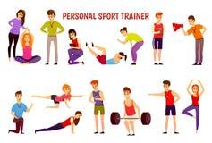 Istruttore personale Orthogonal Icons di sport illustrazione di stock