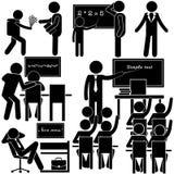 Istruzione alla scuola Giorni della settimana dell'insegnante Insieme del bastone illustrazione di stock