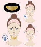 Istruzione: Come applicare l'anti maschera del collo delle grinze Maschera dorata del collo Skincare Un'illustrazione di vettore Immagini Stock Libere da Diritti