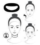 Istruzione: Come applicare l'anti maschera del collo delle grinze Skincare Illustrazione in bianco e nero di vettore Immagine Stock