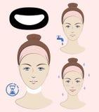 Istruzione: Come applicare l'anti maschera del collo delle grinze Skincare Un'illustrazione di vettore Immagini Stock