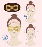 Istruzione: Come applicare l'anti maschera di occhio delle grinze Maschera di occhio dorata Skincare Illustrazione di vettore Fotografia Stock