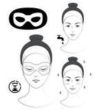 Istruzione: Come applicare l'anti maschera di occhio delle grinze Skincare Illustrazione in bianco e nero di vettore Fotografie Stock