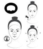 Istruzione: Come applicare la toppa di comedone Skincare Illustrazione in bianco e nero di vettore Immagine Stock Libera da Diritti