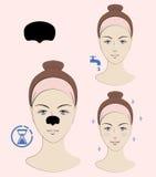 Istruzione: Come applicare la toppa di comedone Skincare Un'illustrazione di vettore Fotografia Stock