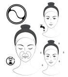 Istruzione: Come applicare le toppe cosmetiche nasolabial Skincare Illustrazione in bianco e nero di vettore Immagini Stock Libere da Diritti