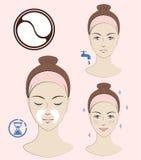 Istruzione: Come applicare le toppe cosmetiche nasolabial Skincare Illustrazione isolata vettore Fotografie Stock Libere da Diritti