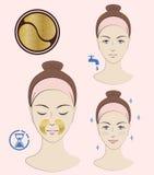 Istruzione: Come applicare le toppe cosmetiche nasolabial Toppe dorate Skincare Illustrazione isolata vettore Fotografia Stock