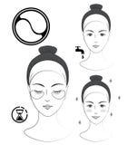 Istruzione: Come applicare le toppe cosmetiche sotto gli occhi Skincare Illustrazione in bianco e nero di vettore Fotografie Stock