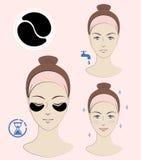 Istruzione: Come applicare le toppe cosmetiche sotto gli occhi Skincare Illustrazione di vettore Fotografie Stock