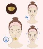 Istruzione: Come applicare le toppe cosmetiche su un mento Toppe dorate Skincare Illustrazione isolata vettore Fotografia Stock Libera da Diritti