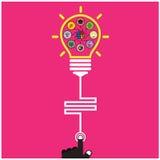 Istruzione creativa della lampadina e del cervello del modello di Infographic e Fotografie Stock Libere da Diritti