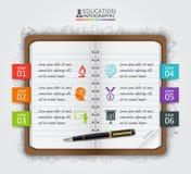 Istruzione della nota di vettore infographic Fotografia Stock
