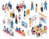 Istruzione di affari e preparare le icone isometriche messe royalty illustrazione gratis