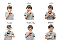 Istruzione di linguaggio dei segni della mano del bambino su fondo bianco Fotografia Stock