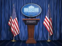 Istruzione di presidente degli Stati Uniti Stati Uniti nella Casa Bianca  podium illustrazione vettoriale