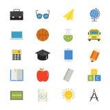 Istruzione e colore piano delle icone della scuola Fotografia Stock Libera da Diritti