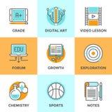 Istruzione e linea icone di apprendimento messe Fotografia Stock