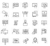 Istruzione e linea online icone di apprendimento messe Web online di studio Fotografia Stock Libera da Diritti