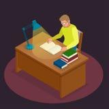 Istruzione e scuola, studio e letteratura Giovane isometrico piano che si siede nella biblioteca e che legge un libro, giornale royalty illustrazione gratis