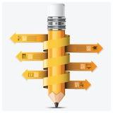 Istruzione ed imparare con il punto a spirale Infographic della matita della freccia illustrazione di stock