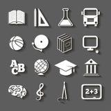 Istruzione, icone della scuola su fondo grigio Immagini Stock Libere da Diritti