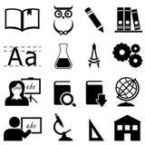 Istruzione, imparare ed icone della scuola Immagine Stock