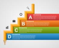 Istruzione Infographics sotto forma di concetto di progetto della scala della matita royalty illustrazione gratis
